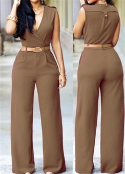 Bodysuits Jumpsuit Slim Dress Wide Leg Pants Women's Fashion Casual Deep V-Neck Women S Clothing Sexy Long Jumpsuit Women Jumpsuit - intl