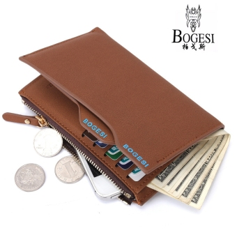 Bogesi Men's Short Multifunctional Leather Wallet with RemovableCard Slot and Coin Purse & Cell Phone Bag 835-7 (Brown)