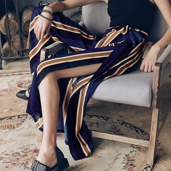 Bohemia High Waist Stripe Culottes Casual Loose Wide Leg Slit Pants - intl