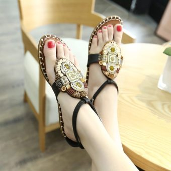 Bohemian crystal flat student sandals summer women's shoes (Black)