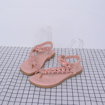Bohemian crystal summer flat sandals women's shoes