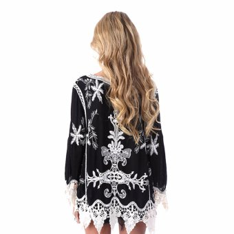 Bohemian embroidery Hallow out openwork lace shirts womencasual(Black) - intl - 2