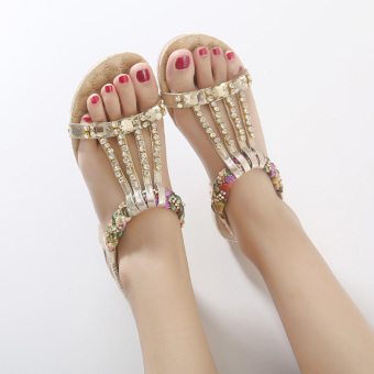 Bohemian female New style flat sandals (Gold)