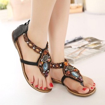 Bohemian female New style flat women's shoes sandals (Black)