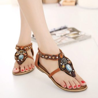 Bohemian female New style flat women's shoes sandals (Light Brown)