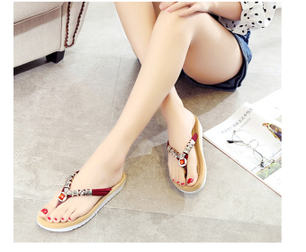 Bohemian Female Summer slip flip-flop sandals and slippers shoes slippers (Wine red color)