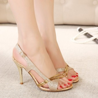 Bohemian New style thin heeled high-heeled women's sandals (Gold with high 10 cm)