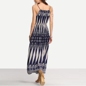Bohemian Style Summer Women Strap Print Long Maxi Beach Dress - 4