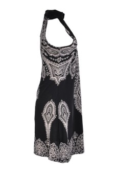 Boho Retro Women totem Mini Dress Sleeve Black