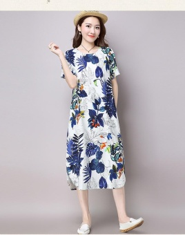 Boho Women Short Sleeve Cotton Linen Hemp Casual Florar Printing and dyeing Maxi Dress - intl