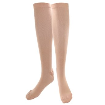 BolehDeals Anti-Fatigue Knee High Stockings Leg Calf Compression Support Socks Skin L - intl