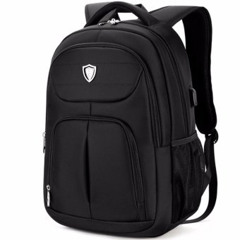 Boshikang Men Backpack Large Capacity Bagpack for Boys Daypack Laptop Back Pack Waterproof Oxford Black Student School Bag(Black) - intl