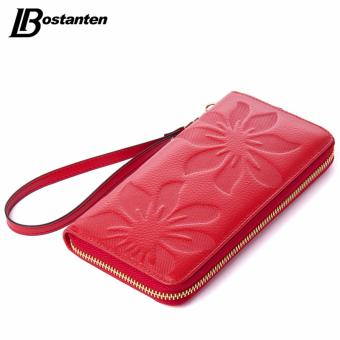 BOSTANTEN Flower Cowhide Leather Wallets Long Genuine Leather WomanWallets Designer Brand Luxury Wallets With Coin Purse Clutch - intl
