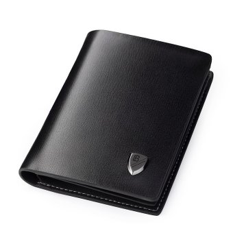 Bostanten Men's Genuine leather Wallet Classic Biford Card holder (Black)