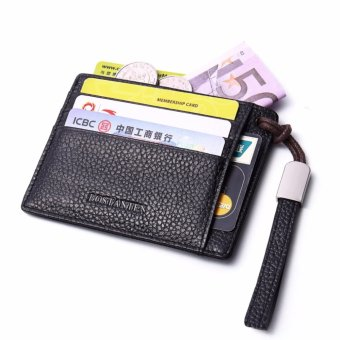 Bostanten Men's Leather Cowhide Fashion Coin Purse Card Holders Black - intl