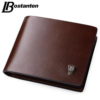 Bostanten New Men Short Wallets Balck Brown Bifold Wallet MensBrand Leather Card Holder Coins With Zipper Wallet PursesPockets(Black) - intl