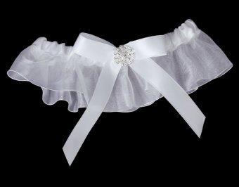 Bow Wedding Garter Satin Toss (White) - picture 2