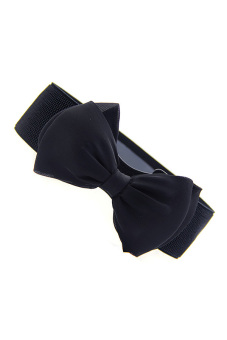 Bowknot Elastic Wide Belt (Black)