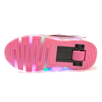 Boy And Girl's LED Light Up Roller Skate Shoes With Wheels Or Wings Outdoor Fashion Sneakers (Pink) - intl - 5