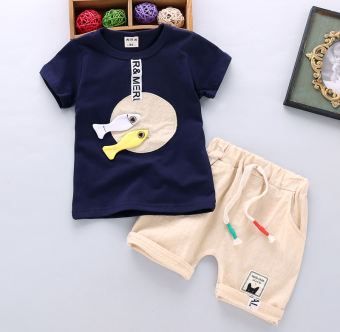 Boy's New Style Bamboo Cotton Short sleeved t-shirt (Summer double fish-green) (Summer double fish-green)