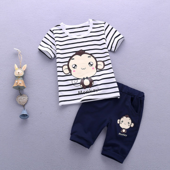 Boy's New Style Bamboo Cotton Short sleeved t-shirt (Xia Houzi short sleeved sets [dark blue])