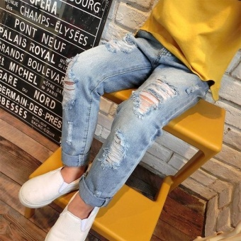 Boys & Girls Ripped Jeans Spring Summer Fall Style 2017 Trend Denim Trousers for Kids Children Distrressed Hole Pants - intl