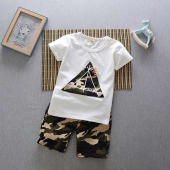Boys' Two-piece Korean-style Sport Outfit Set (Summer camouflage triangle short sleeved sets [White])