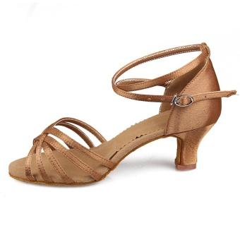 Bravely Ladies Girl s Sandals High Heel Satin Leatherette Buckle Latin  Ballroom Salsa Dance a019cb33bdd4