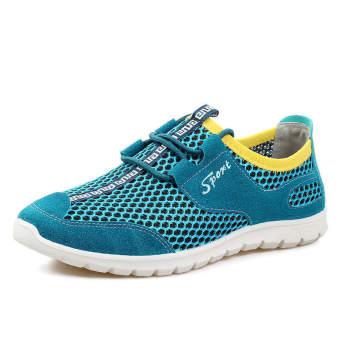 Breathable Mesh Men Low Cut Sneakers (Blue)