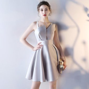 Bridal Gown Fashion Medium Long Term Thin Gules Marry EveningDress(Grey) - intl