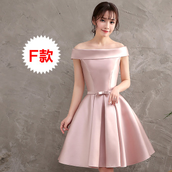 Bridal wedding bridesmaid sisters dress small dress wedding dress (F Paragraph pink) (F Paragraph pink)