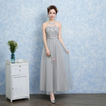 Bridesmaid Chiffon Prom Dress Long Evening Gown(Grey-D) - intl
