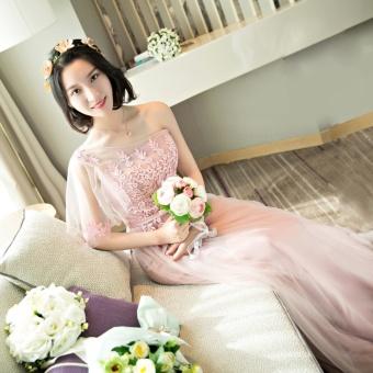 Bridesmaid Long Dress Shiny Lace Evening Dress - intl - 2