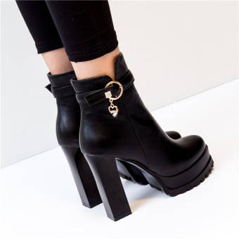 British style autumn and winter New style ultra-high-heeled Martin boots (Single Layer + Black)