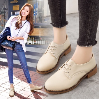 British-style Classic Women's Cross-belt Flat Shoes (Off-white color)