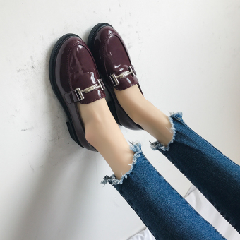 British-style Classic Women's Flat Shoes (Wine red color)