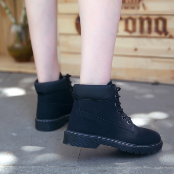 British style female spring New style boots Martin boots (Black)