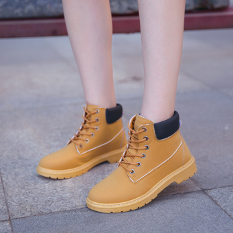 British style female spring New style boots Martin boots (Yellow)