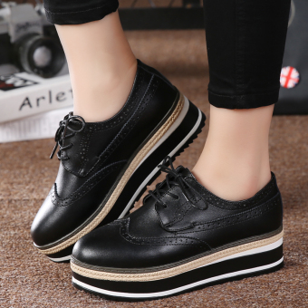 British style leather Spring and Autumn New style women's shoes (Black)
