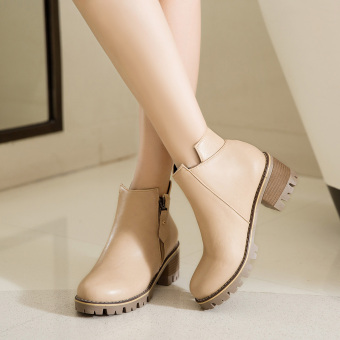 British style Side Zipper round Martin boots casual women's boots (Beige)