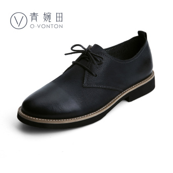 British style women flat soft small leather shoes women's shoes (Black)