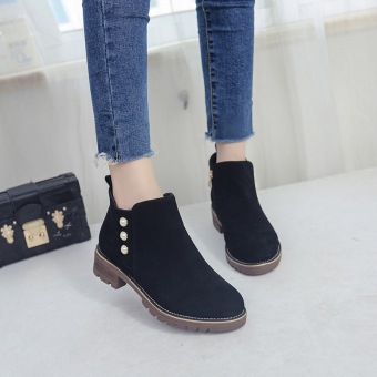 British style women round student New style short boots Martin boots (Black)