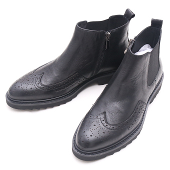 Brogue British Plus velvet men to help men boots men's shoes (Black zip)