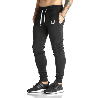 Brother male fitness training skinny sweatpants I pants (Black)