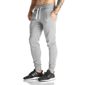 Brother male fitness training skinny sweatpants I pants (Light gray color)