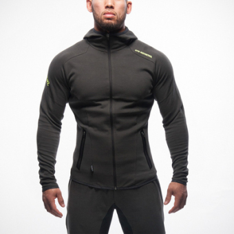 Brother men muscle fitness Top hooded hoodie (Dark gray color)