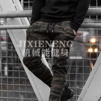 Brother men shut skinny breathable sweatpants athletic pants (Camouflage black thread)
