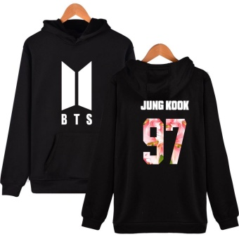 BTS Bangtan Boys Women Girls Harajuku Hoodies Sweatshirts Floral BTS Logo Women Autumn Winter Casual Hoodies BTS Kpop Hoodie Women's Sweatshirt Plus Size XXXXL JUNG KOOK 97 (Black) - intl
