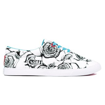 Bucketfeet Roses Women Lace Up Sneakers (White Blue)