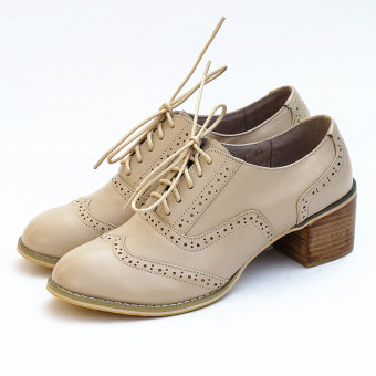 Bullock British style leather autumn Women's Singles shoes (Nude color)